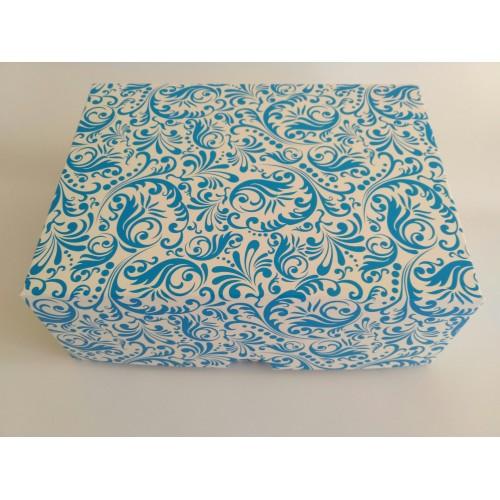 Картонная коробка на 6 капкейков,размер 240*180*90 стоимость 9,8 грн. Мелованный картон 280гр/м. Голубая