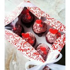 Картонная коробка на 6 капкейков,с окошком,размер 240*180*90 Красная
