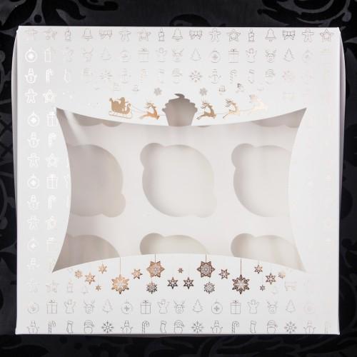 Новогодняя коробка для 9 капкейков(золото-тиснение).