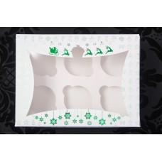 Новогодняя коробка для 6 капкейков (зелёное-тиснение).