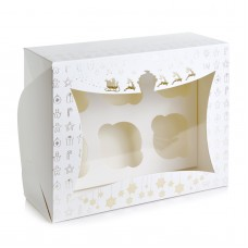 Новогодняя коробка для 6 капкейков (золото-тиснение).
