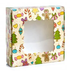 Новогодняя коробка 150*150*50 мм. Стоимостью 11,5 грн. Елка
