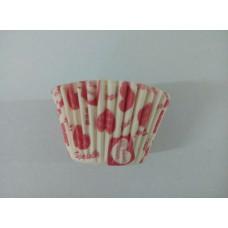 Бумажная форма для капкейков с красными сердечками, 50 шт.