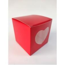 """Коробка на 1 капкейк """"Красная"""" с окошком, 90*90*90"""