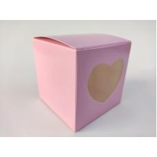 """Коробка на 1 капкейк """"Розовая"""" с окошком, 90*90*90"""