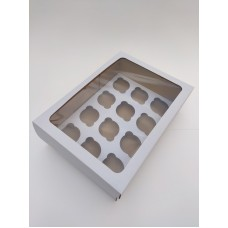 Коробка на 12 капкейков с окном из микрогофрокартона, 350*250*110