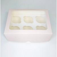 Коробка для 6 капкейков пудровая с прямым окном, 240*180*90