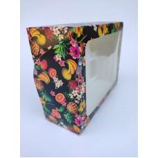 """Коробка """"Фруктовый рай"""" на 6 капкейков (прямоугольное окно), 240*180*90"""