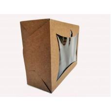 Картонная коробка для капкейков с окошком на 6 шт.Крафт.