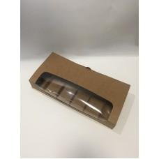 Коробка для эклеров и пирожных Эскимо с окном, крафт, 310*144*50