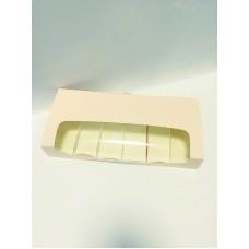 Коробка для эклеров и пирожных Эскимо с окном, пудра, 310*144*50