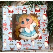 Новогодняя коробка 150*150*50 мм. Санта
