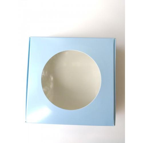 """Коробка для макаронс лакированная """"Голубая"""" с окном, 100*100*36"""