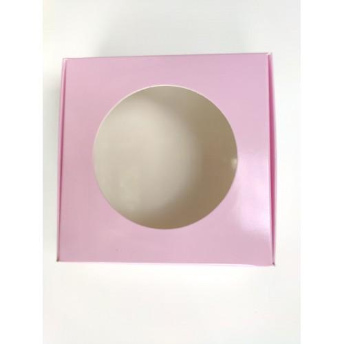 """Коробка для макаронс лакированная """"Розовая"""" с окном, 100*100*36"""
