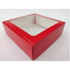 """Коробка """"Красная"""" с окном, 150*150*50"""