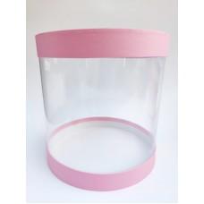 """Коробка """"Тубус"""" розовая для муссовых тортов, 250*250"""