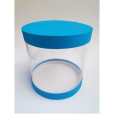 """Коробка """"Тубус"""" синяя для муссовых тортов, 250*250"""