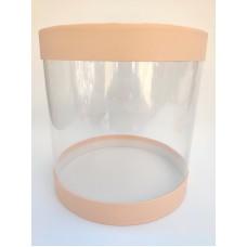 """Коробка """"Тубус"""", цвет - лососевый, для муссовых тортов, 250*250"""