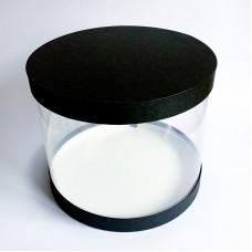 """Коробка """"Тубус"""" черная для муссовых тортов, 305*250"""