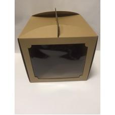 """Коробка для торта """"Бура-бурая"""" с окном, 300*300*300"""