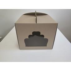"""Коробка для торта """"Бура-бурая"""" с окном, 300*300*250"""