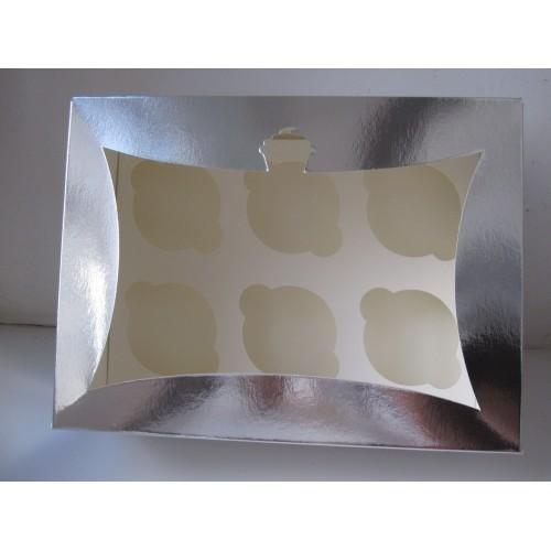 Серебренная коробка для 6 капкейков