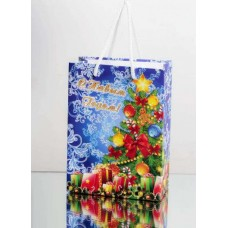 Картонный новогодний пакет. Размер 200*150*80