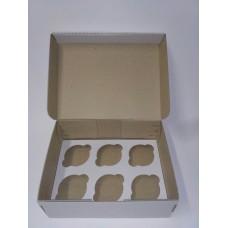 Коробка для 6 капкейков из микрогофры, размер 240*180*90