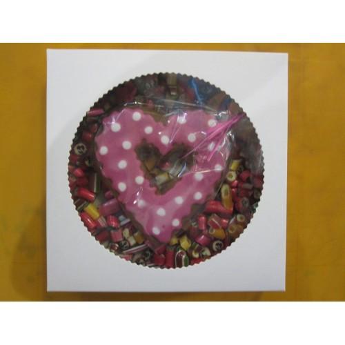 Коробка для пряника,конфет,бижутерии.Размер 200*200*35 мм.,с окошком.