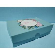"""Коробка для эклеров, зефира """"For you"""" бирюзовая, 225*150*60"""