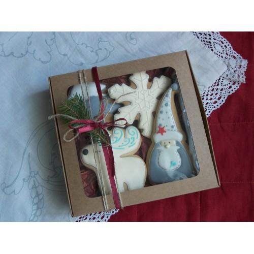 Коробка крафт для макарон, печенья бижутерии с окошком.200*200*50 мм.
