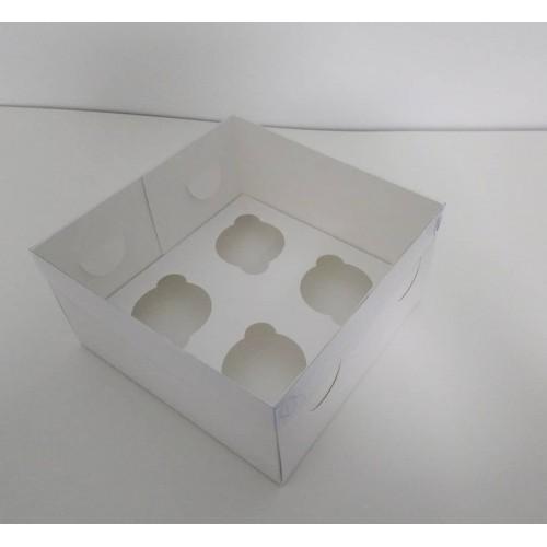 Коробка на 4 капкейка с пластиковой крышкой, 200*200*105