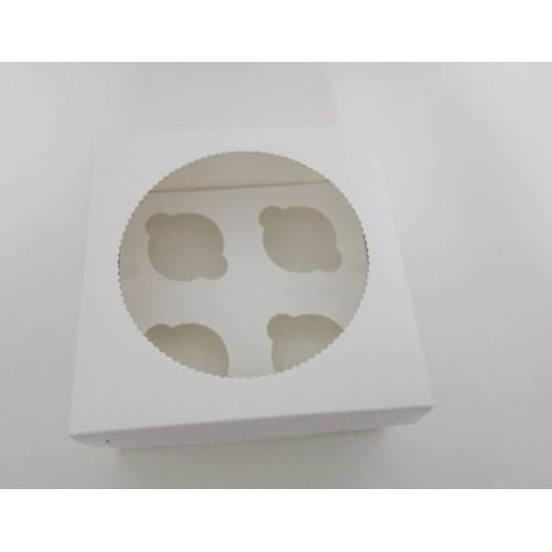 Коробка на 4 капкейка с окошком, 200*200*105