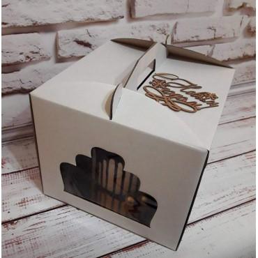 Коробка для торта из микрогофры,с окошком размер 300*300*250