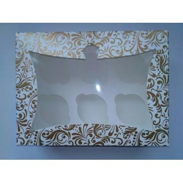 Картонная коробка на 6 капкейков, с окошком, Золото